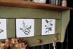 Nábytok - Vidiecka vešiak-o-polica olivová - 10825740_