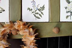 Nábytok - Vidiecka vešiak-o-polica olivová - 10825771_
