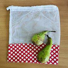 Úžitkový textil - Zero waste Aj aj vrecúško  (Červené bodky) - 10825473_