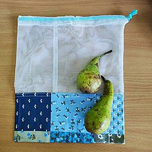 Úžitkový textil - Zero waste Aj aj vrecúško  (Modré kvietky 2) - 10825491_
