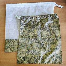 Úžitkový textil - Zero waste sada  (2 mramorové vrecúška) - 10825563_