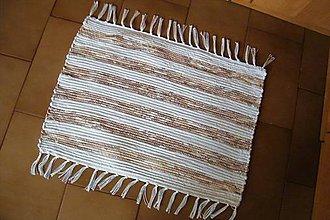 Úžitkový textil - Tkaný koberček bielo-hnedý 2 - 10826776_
