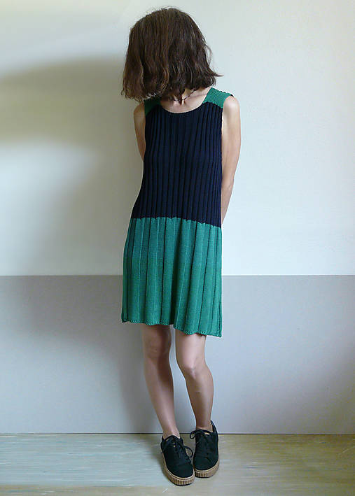 Šaty - šaty tmavomodro-zelené - 10827171_