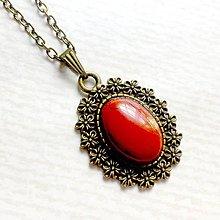 Náhrdelníky - Vintage Red Jasper / Náhrdelník s červeným jaspisom v bronzovom prevedení - 10828857_