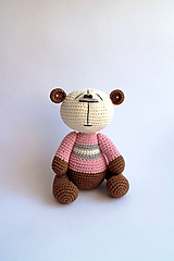 Hračky - Háčkovaný macko - Ňuňúch stredný   Hnedá   Béžová   Ružová - 10828726_