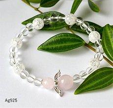 Náramky - ochranný náramok - ruženín krištáľ- AG925 - 10829019_