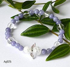 Náramky - ochranný náramok - angelit krištáľ - AG925 - 10829030_