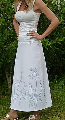 Sukne - Sukňa kreslená Modrá záhrada - 10829703_