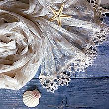 Šály - Sluneční záliv - krajkový ivory šál - 10829661_