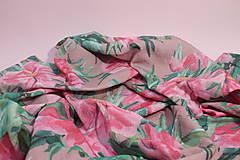 Textil - Gázovinová prikrývka/Šál Olejové pivónie - Ružová - 10828138_