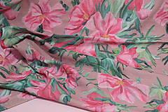 Textil - Gázovinová prikrývka/Šál Olejové pivónie - Ružová - 10828141_