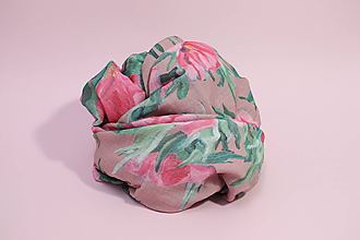 Textil - Gázovinová prikrývka Olejové pivónie - Ružová - 10828137_