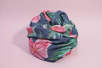 Textil - Gázovinová prikrývka Olejové pivónie - Modrá - 10828150_