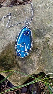 Náhrdelníky - oceľový náhrdelník - Achát /modrý/ - 10830332_