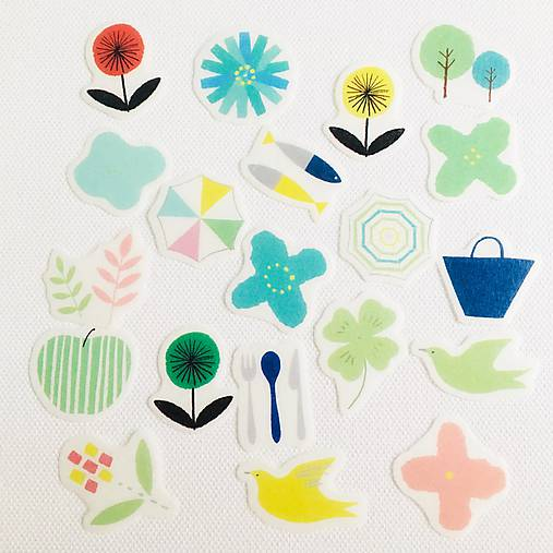 papierové washi nálepky Svieži deň