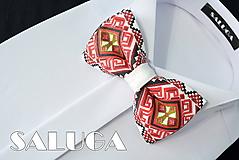 Doplnky - Pánsky folklórny motýlik - červený - bordový - 10829379_