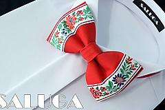 Doplnky - Pánsky folklórny motýlik - červený - ľudový - 10829502_