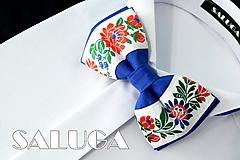 Detské doplnky - Detský folkórny motýlik - modrý - 10829563_