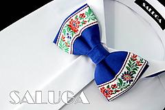 Doplnky - Pánsky folklórny motýlik - kráľovsky modrý - ľudový - 10829594_