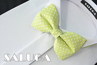 Detské doplnky - Detský jablkovo zelený motýlik - bodkovaný - 10829313_