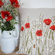 Úžitkový textil - Vankúš ručne maľovaný - maky - 10829877_