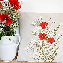 Úžitkový textil - Vankúš ručne maľovaný - maky - 10829890_