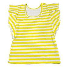 Tričká - Dámske tričko s volánikom lemon stripes - 10829270_