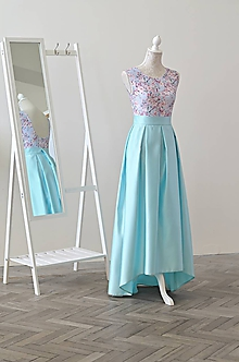 Sukne - Spoločenská sukňa v asymetrickej dĺžke s vreckami - 10828941_
