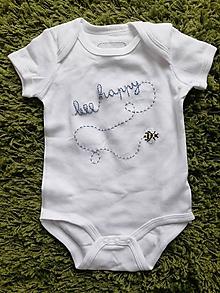 Detské oblečenie - Bee happy - body s včielkou - 10829147_