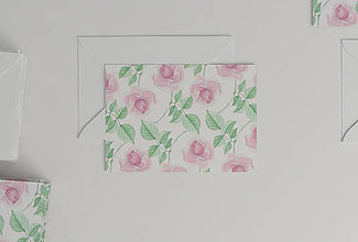 Papiernictvo - Akvarelová pohľadnica | ilustrácia Ruža šípová - 10829804_