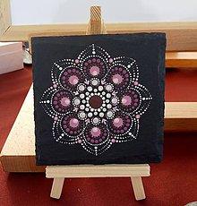 Kresby - Ružová na bridlici - Na kameni maľované - 10829504_