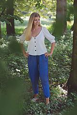 Nohavice - miljö ľanové nohavice - blå - 10830085_