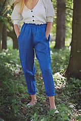 Nohavice - miljö ľanové nohavice - blå - 10830087_