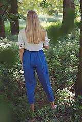 Nohavice - miljö ľanové nohavice - blå - 10830088_