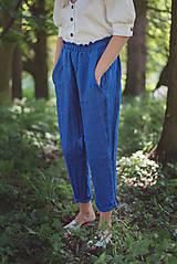 Nohavice - miljö ľanové nohavice - blå - 10830089_