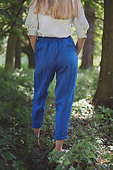 Nohavice - miljö ľanové nohavice - blå - 10830090_