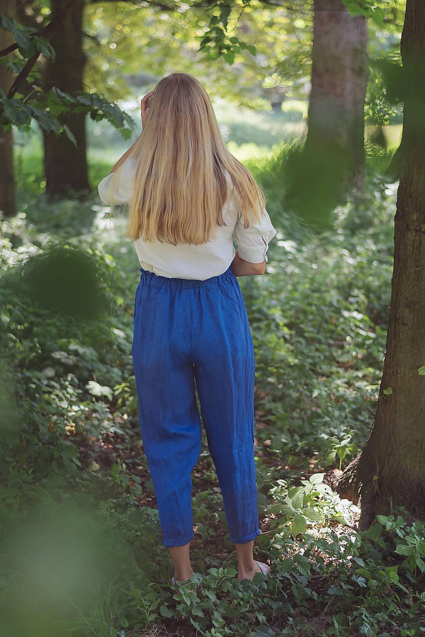 miljö ľanové nohavice - blå
