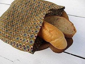 Úžitkový textil - voskované vrecko-kvet na hnedej - 10830207_