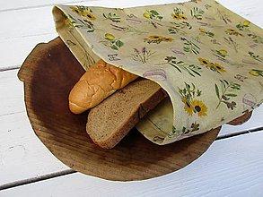 Úžitkový textil - voskované vrecko na chlieb-slnečnica - 10830322_
