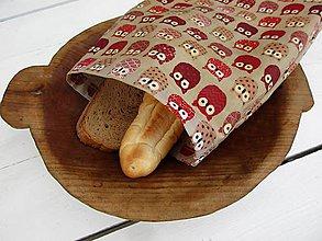 Úžitkový textil - desiatové voskované vrecko-sova - 10830388_