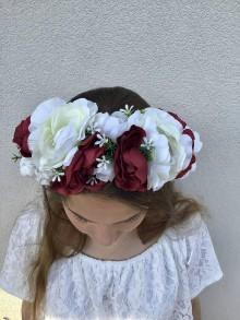 Ozdoby do vlasov - Venček- biele a červené ruže - 10828986_
