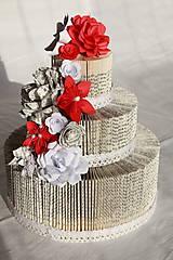 Dekorácie - Torta (nielen svadobná) vyrobená z knihy, ozdobená papierovými kvetmi - 10830128_