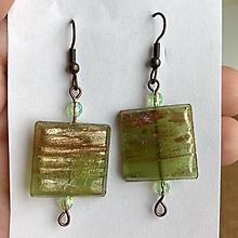 Náušnice - Handmade zlato-zelené mozaikové náušnice - 10830444_