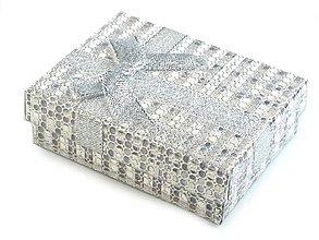 Obalový materiál - Krabička na šperky 9x7x3cm (Strieborná) - 10828101_