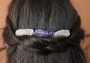 Ozdoby do vlasov - Modro biely hrebienok - 10829381_