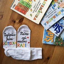 Obuv - Maľované pestrofarebné ponožky pre PANI UČITEĽKU - 10829279_