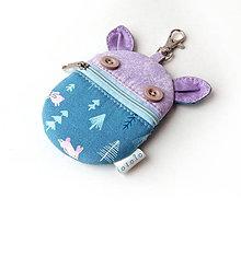 Taštičky - Kapsička na slúchadlá Zvieratko modré so zajačikmi - 10828596_