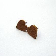 Náušnice - Drevené náušnice napichovacie - jelšové srdiečka - 10829792_