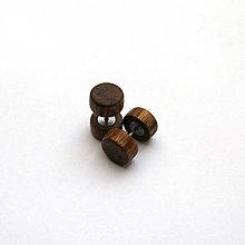 Náušnice - Drevené falošné rozťahováky - orechové - 10829841_