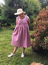 Šaty - Starorúžové ľanové šaty - 10829395_